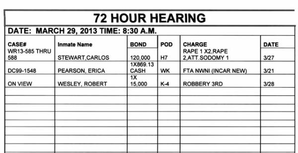 72-Hour Hearing Docket For Houston County District Court Judge Benjamin Lewis