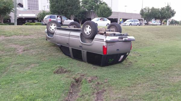 Vehicle Flips on the Lawn of SAMC