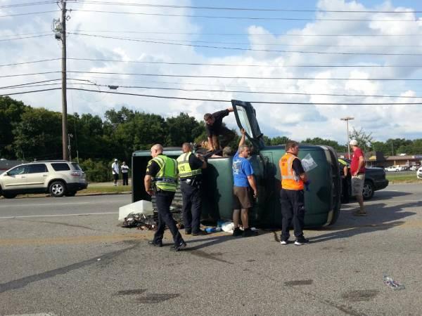 Vehicle Flips on Montgomery Hwy