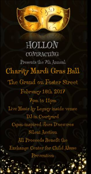 7th Annual Charity Mardi Gras Ball benefitting the Exchange Center for Child Abuse Prevention