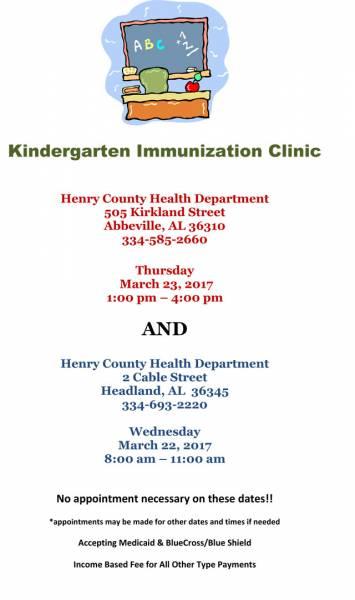 Kindergarten Immunization Clinic/Henry County Health Department