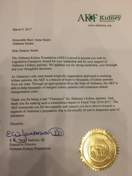 Alabama Kidney Foundation Presents Senator Harri Anne Smith With It's Legislative Champion Award