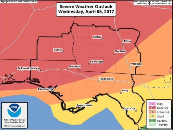 Update on Tomorrow's Weather from the National Weather Service