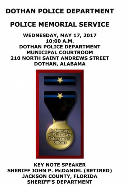 Dothan Police Memorial Service Scheduled for Tomorrow