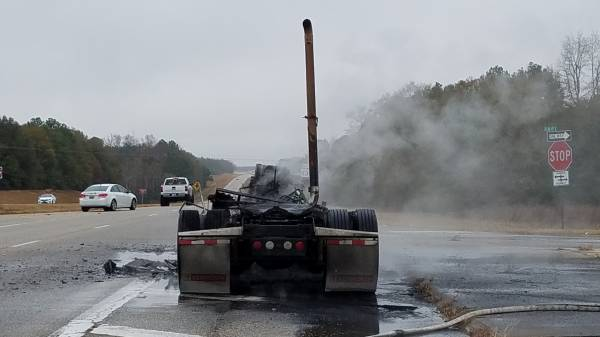 UPDATED @ 12:37 PM With Video  12:14 PM.  Semi Truck Vehicle Fire