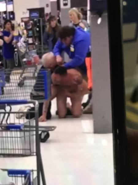 NAKED MAN AT WALMART DOTHAN.  Dothan Police Had to Carry a Man Out of a Local Business