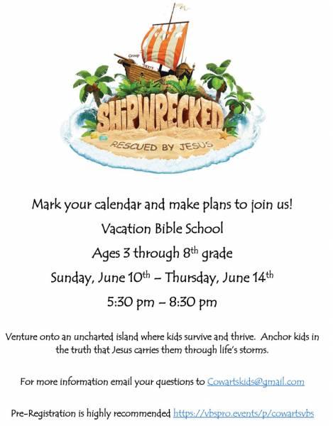 Cowarts Baptist Church to Host Vacation Bible School