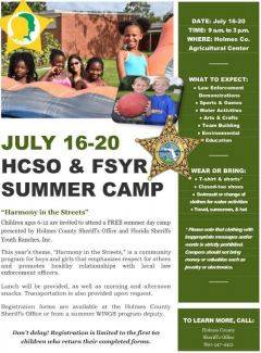 HOLMES COUNTY SHERIFF'S OFFICE TEAMS UP WITH FLORIDA SHERIFFS YOUTH RANCH TO HOST SUMMER DAY CAMP