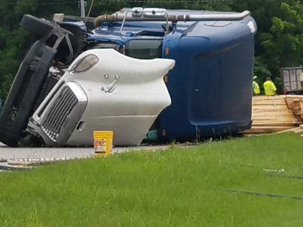 UPDATED at 1:25 PM.     Haz Mat - Two Semi's - One Overturned - Abbeville