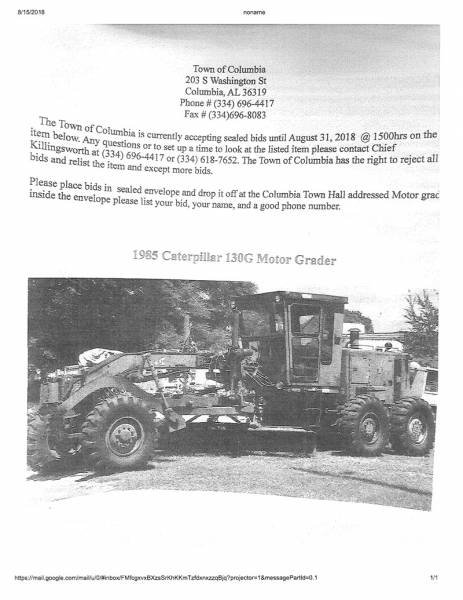 Town of Columbia is Taking Bids on a Motor Grader for Sale