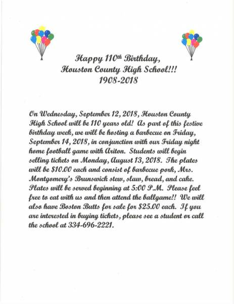 Houston County High will be Celebrating its 110th Birthday this Year