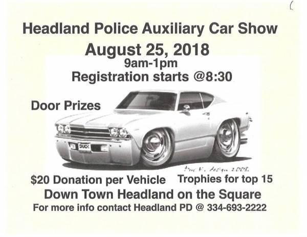 Car Show and Fund Raiser for The Headland Police Auxiliary