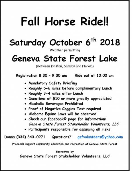Fall Horse Ride at Geneva State Forest Set for Oct. 6