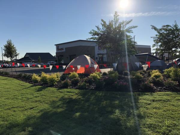 Tents Set Up, Fellowship Is Underway AWAITING 6 AM Thursday For Chic-fil-A