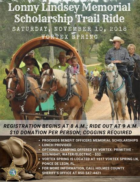 Holmes County Sheriff's Office is hosting the Lonny Lindsey Memorial Trail Ride on Nov. 10.