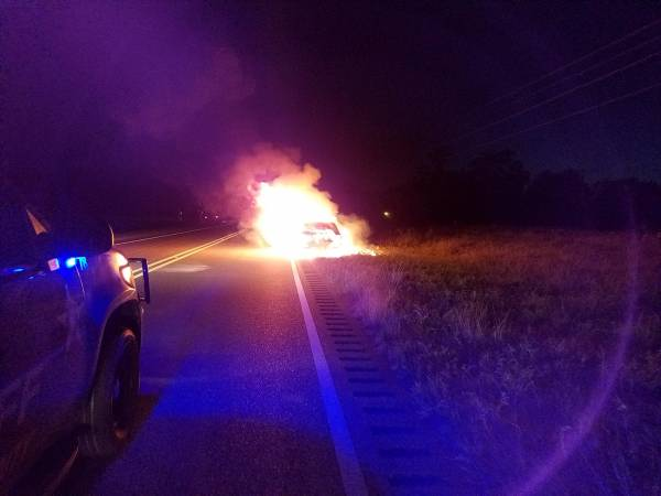 6:54 PM... Vehicle Fire on Hwy 109