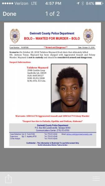 BOLO WANTED FOR MURDER OF A POLICE OFFICER
