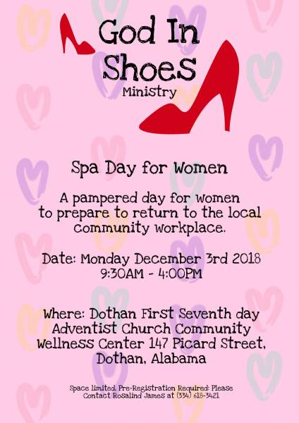 God in Shoes SPA Day for Women: Seeking clothing and shoes donations