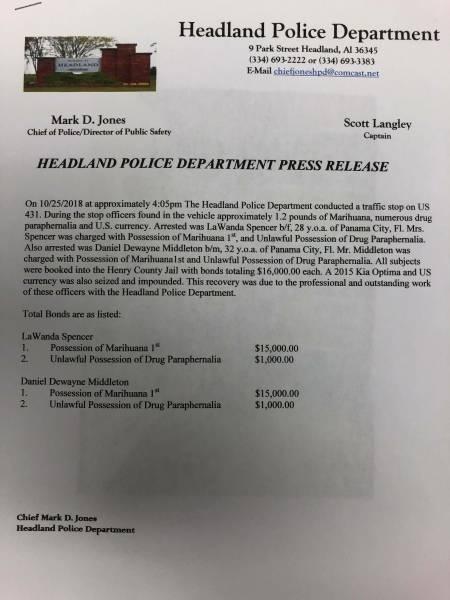 Headland Police Department Make Drug Arrest