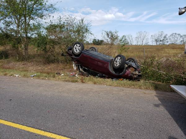 9:53 AM... Vehicle Overturned on County Road 33 in Hodgesville