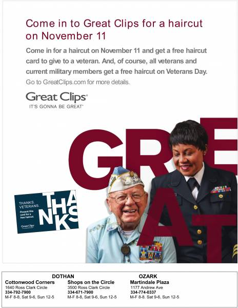 Great Clips shows gratitude with free haircuts on Veterans Day