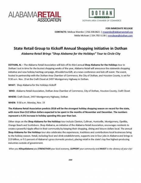 Annual Shopping Initiative in Dothan - Monday, Nov. 19, 9:30 a.m.!
