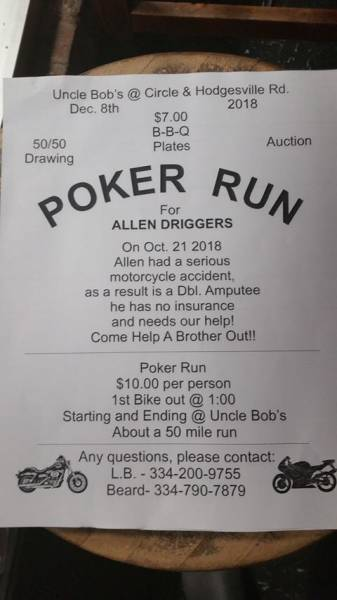 Poker Run for Allen Driggers Set for Dec. 8th
