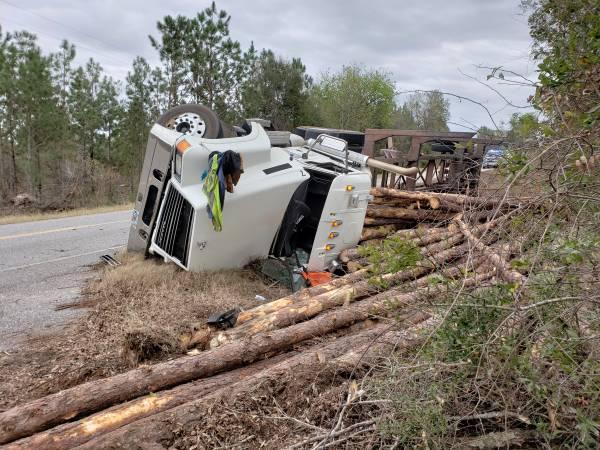 11:48 AM... Log Truck Overturned on Hwy 95 in Gordon