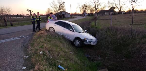 5:00 PM... Vehicle vs Ditch at Taylor and Shady