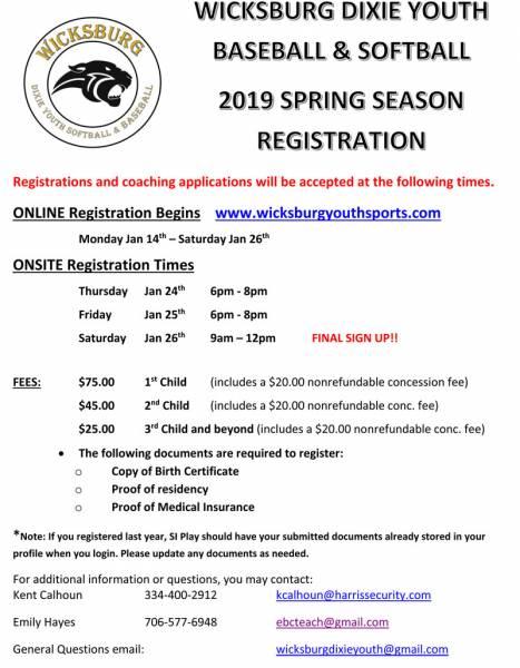 Wicksburg Dixie Youth Baseball and Softball 2019 Spring Registration