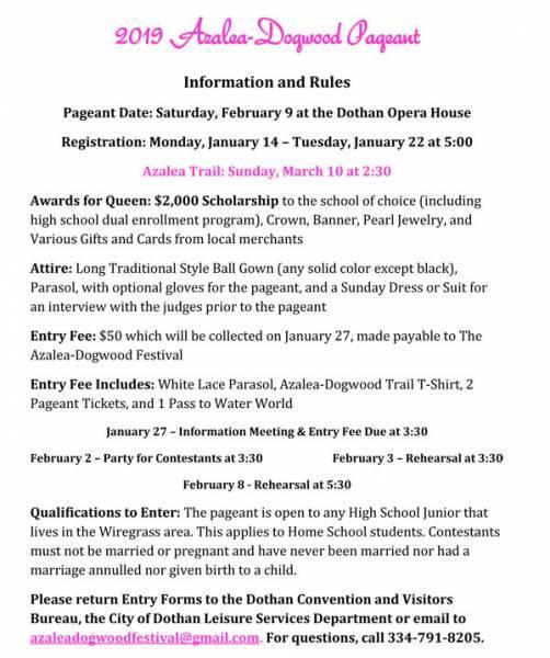 UPDATED: 2019 Azalea-Dogwood Festival Pageant Registration Ends January 22nd
