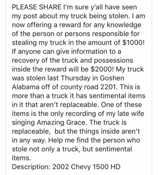 Reward for Stolen Truck