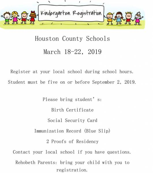 Houston County Schools Kindergarten Registration