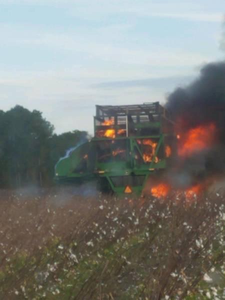 4:20 PM. Cotton Picker On Fire