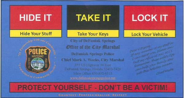DeFuniak Springs Police Warn about Thieves