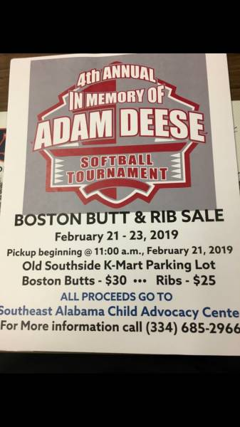 4th Annual in Memoryof Adam Deese BostonButt and Rib Sale