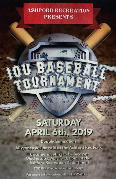 Ashford Recreation Presents IOU Baseball Tournament