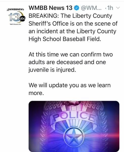 UPDATED @ 5:13 PM    PM   3:14 PM   Liberty County Sheriff On Deadly Scene At Ball Field