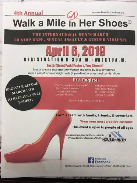 Walk a Mile in Her Shose Set for April 6th