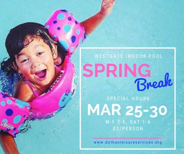 Spring Break Hours at Westgate Indoor Pool