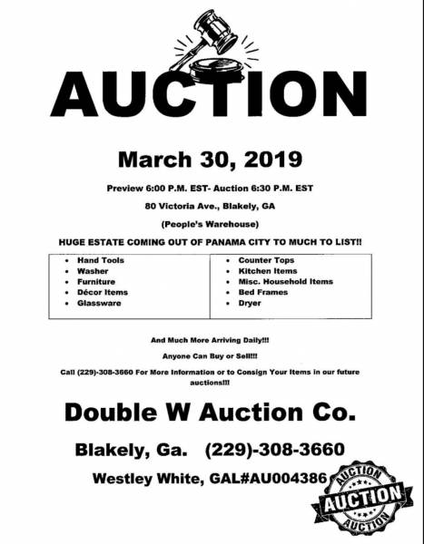 Auction Set for March 30th