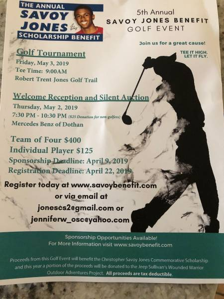 Annual Savoy Jones Scholarship Benefit Set for May 3rd