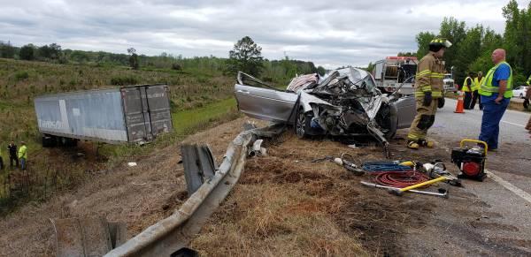 UPDATED at 1:40 PM.   Motor Vehicle Accident - Semi verses Vehicle - Semi off the bridge