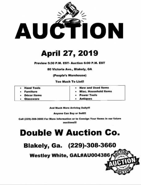 Auction Set for April 27th