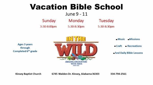 Kinsey Baptist Church Hosting Vacation Bible School