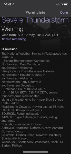 10:42 AM.  Severe Thunderstorn Warning