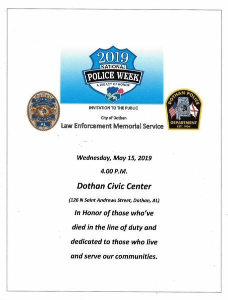 Law Enforcement Memorial Service Set for May 15th