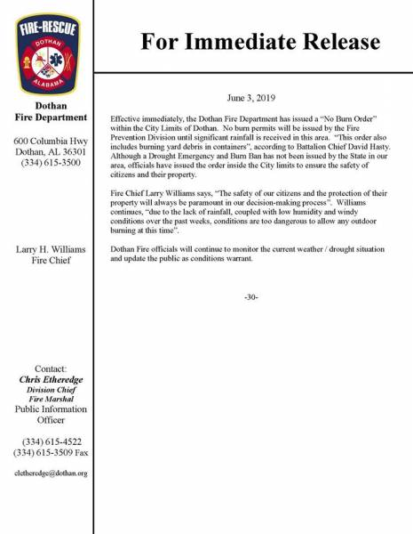 Immediate Release From Dothan Fire Department