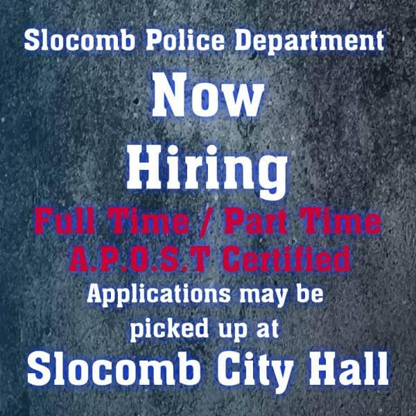 Slocomb Police Department Now Hiring