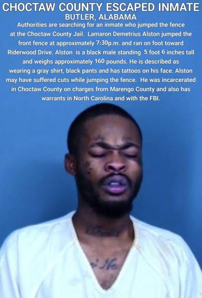 Inmate Escaped in Butler Alabama